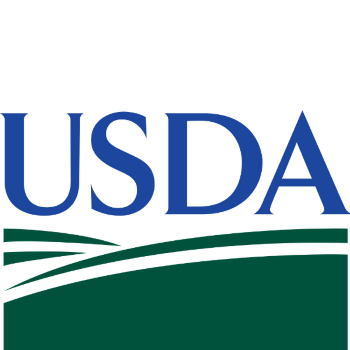 USDA logo, with blue serif text and green rolling hill image