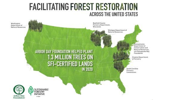 A graphic of the continental U.S. showing reforestation locations, including WA, WI, MI, PA, VI and SC.