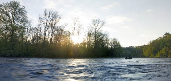 Panoramic photo of a boater on the Muskegon River, surrounded by forest