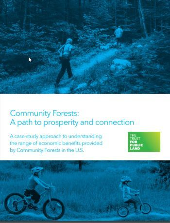 Cover of community forests report featuring hiking and biking people and the Trust For Public Land logo