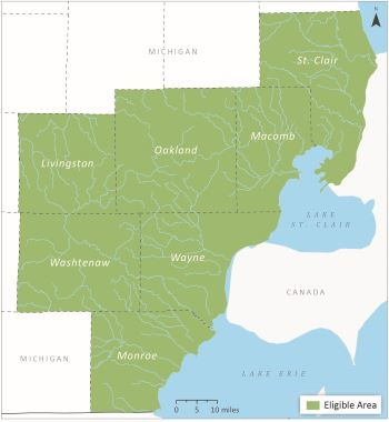Map of eligible project area in SE Mich - St. Clair, Macomb, Oakland, Livingston, Washtenaw, Wayne and Monroe counties