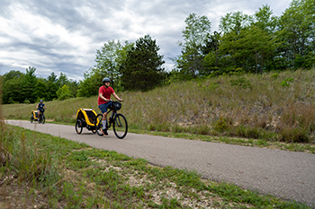 bicyclists on paved trail