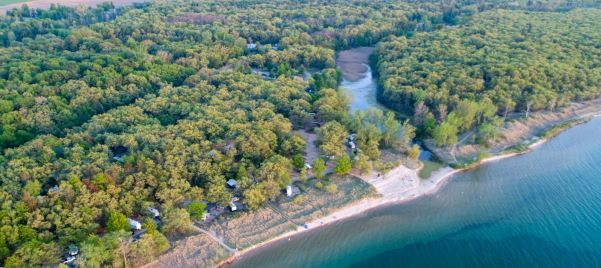 Aerial view of a densely forested area on the blue shores of Lake Huron