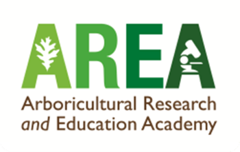 Arboricultural Research and Education Academy logo, AREA in green text with leaf motifs