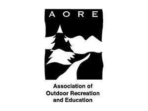 AORE logo in black and white, with a stylized tree, stream and mountain