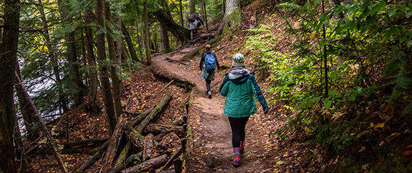 Two people hiking on a wooded trail