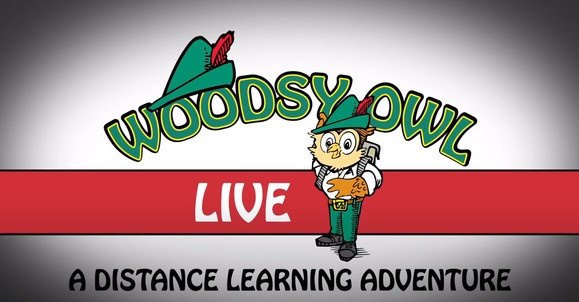 A banner with the cartoon image of Woodsy Owl, an owl in suspenders and a feathered cap, with the text: Live - a distance learning adventure