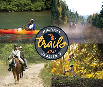 horseback rider, ORVs, runner and paddler on trails, Michigan Trails Week logo