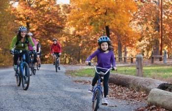 fall bike ride family