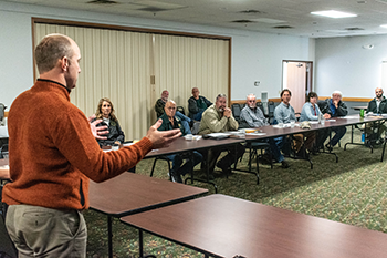 Jared Duquette, DNR wildlife division chief, is shown addressing the U.P. Habitat Workgroup in Ishpeming.