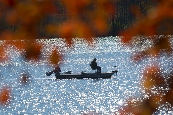 fishing at ionia state park in fall