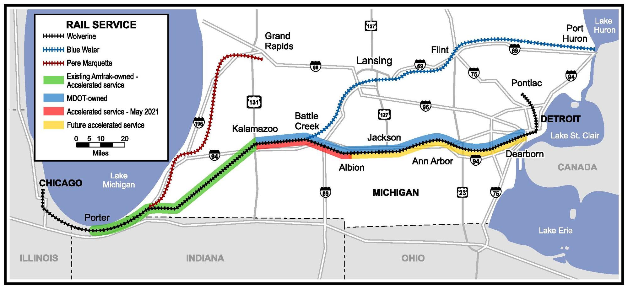 Michigan Accelerated Rail Map 2021