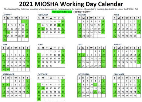 2021 MIOSHA Working Day Calendar