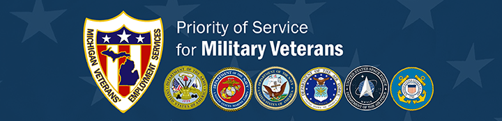 Veterans' Employment Services graphic, Priority of Service for Military Veterans, logos of U.S. military branches