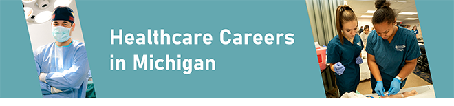 Healthcare Careers in Michigan graphic image