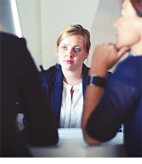 Photo of woman in job interview
