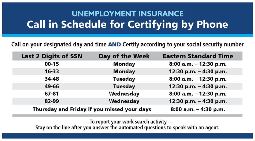 UIA work search schedule