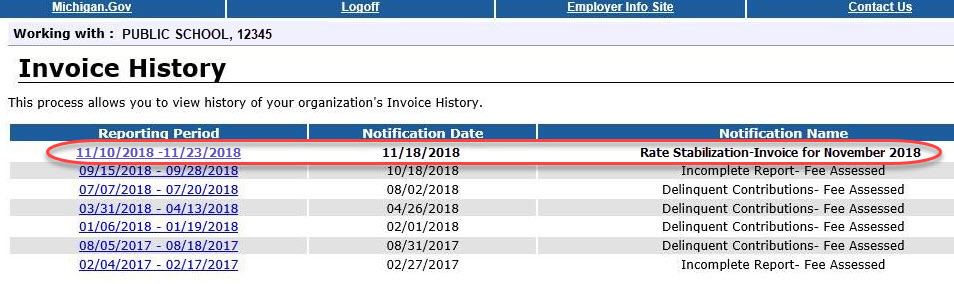 Invoice History page