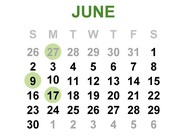 June 2019 Calendar for important dates and reminders