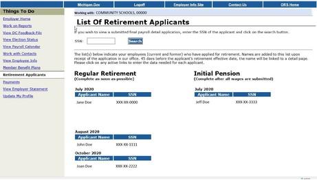 Retirement Applicants screenshot