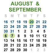 Aug and Sept 2020 calendar