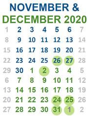 Nov and Dec 2020