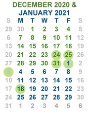 calendar - dec 20 and Jan 21
