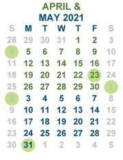April and May calendar