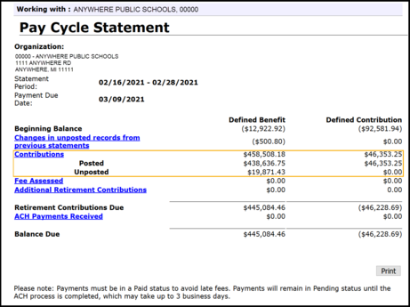 Pay Cycle Statements