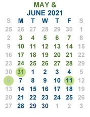 Calendar - May and June 2021