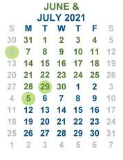 New June July calendar 2021