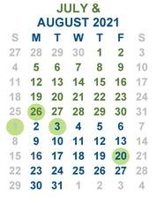 Calendar July August 2021