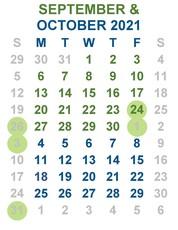 Sept-Oct calendar important dates