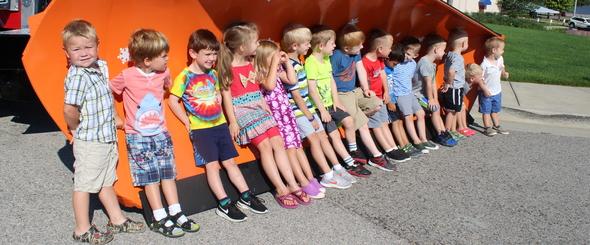 Kids at YMCA big truck camp