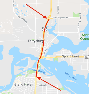 Lane closures on U.S. 31 through Grand Haven/Spring Lake