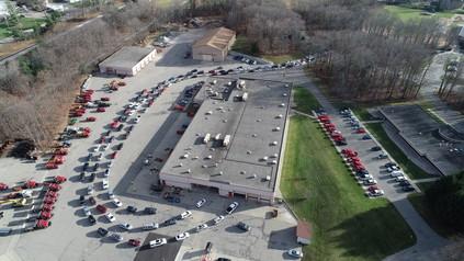 Community COVID testing aerial photo