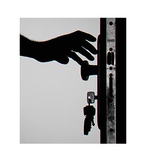Person opening door centered