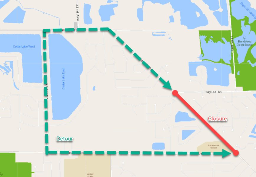 Cottonwood Drive -- Bauer Rd to Taylor St -- Reconstruction Map