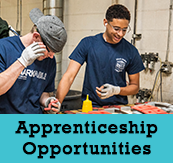 Apprenticeship Opportunities with a photo of two apprentices working at a job.