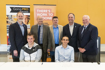 GST Michigan Works! students with their union representatives at their Apprenticeship Signing Day.