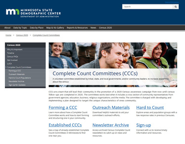 image of front page of MN Census website