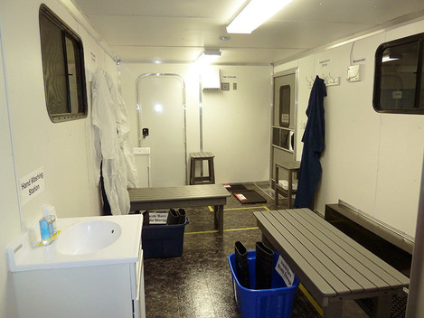 Interior of Biosecure Entry Education Trailer