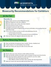 Biosecurity for exhibitors flyer