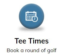 Blue Button with white calendar icon - links to online tee time booking