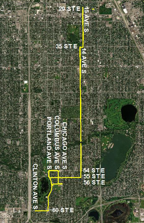 Map of CenterPoint Energy's Minneapolis 2019 Belt Line Project