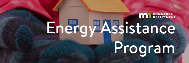 """banner with mittens holding toy house, text """"energy assistance program"""""""