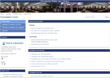 Conciliation Court LibGuide Screenshot
