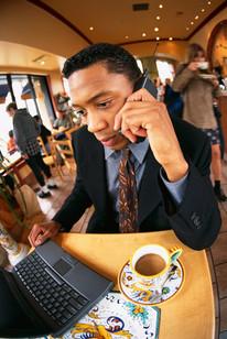 Entrepreneur at coffee shop