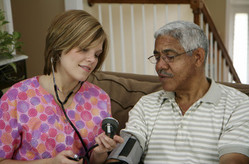 Man getting his blood pressure checked