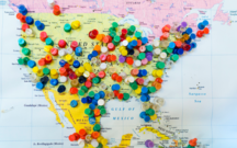 Tacks on a U.S. map